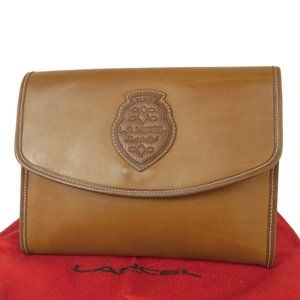 Authentic LANCEL Logos Leather Clutch Bag w/Dustbag Brown Italy